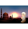 Muslim girl praying at the mosque vector image vector image