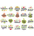 organic fruits and veggies labels vegetarian vector image vector image