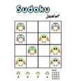 Picture sudoku with cute owls Answer included vector image vector image