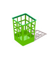 plastic basket green trash bins isolated motley vector image