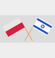 poland and israel crossed polish and israeli flags vector image