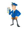Policeman with order icon cartoon style vector image vector image