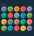 Round Thin Icon with Shadow Set 9 vector image vector image