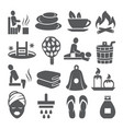 sauna icons set on white background vector image vector image