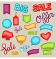 Set of sale banners tags and labels in cartoon vector image vector image