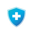 shield with white cross security or protection vector image vector image
