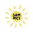 summer logo with inscription on sun vector image