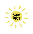 summer logo with inscription on the sun vector image vector image