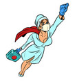 super hero nurse flying with a vaccine against the vector image