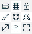 user icons line style set with load application vector image