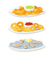 various oysters meat canape snacks appetizer chips vector image vector image