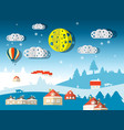 winter scene abstract paper cut flat design vector image vector image