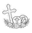 wooden cross christianity icon vector image