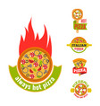 delivery pizza logo badge pizzeria vector image