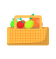 wicker basket with fruit and vegetables for picnic vector image