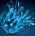 3d clear blue digital wireframe object broken into vector image vector image