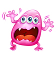A pink monster shouting because of frustration vector image vector image