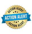 action alert round isolated gold badge vector image vector image