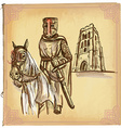 An hand drawn colored line art - Knight vector image vector image