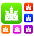 ancient castle palace set color collection vector image vector image