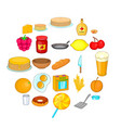bakery icons set cartoon style vector image