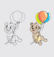 bear with balloons for coloring the book vector image