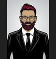 bearded hipster style man wearing suit vector image vector image