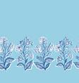 blue vintage floral botany border elegant hand