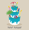 cake happy birthday for traveler concept s vector image vector image