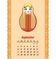 Calendar with nested dolls 2017 September vector image vector image