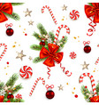 candy cane and ribbon card vector image vector image
