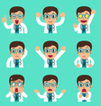 Cartoon male doctor faces showing different vector image vector image