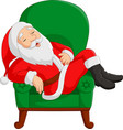 cartoon santa claus sleeping on armchair vector image vector image
