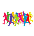 colored silhouettes of running children vector image vector image