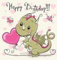 cute cartoon dragon with a balloon vector image