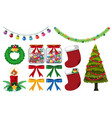 different christmas decorations on white vector image