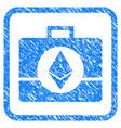 ethereum crystal case framed stamp vector image vector image