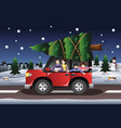 family buying a christmas tree vector image vector image