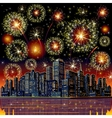 Firework City At Night vector image