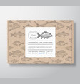 fish pattern realistic cardboard box with banner vector image
