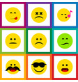 flat icon expression set of descant wonder vector image vector image