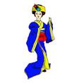 geisha doll in blue kimono vector image