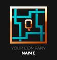 golden letter q logo symbol in the square maze vector image