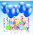 greeting card with a happy birthday with balloons vector image