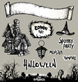 halloween banner and elements drawn Halloween sy vector image vector image
