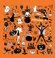 halloween silhouettes witch pumpkin black cat vector image