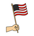 hand with united states america flag vector image vector image