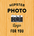 Hipster logotype with old camera for studio or vector image