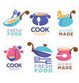 home made food collection logo symbols and vector image vector image