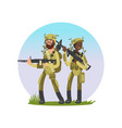 male and female soldiers cartoon character design vector image vector image